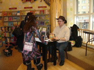 Barnas, signing books at Barnes & Noble